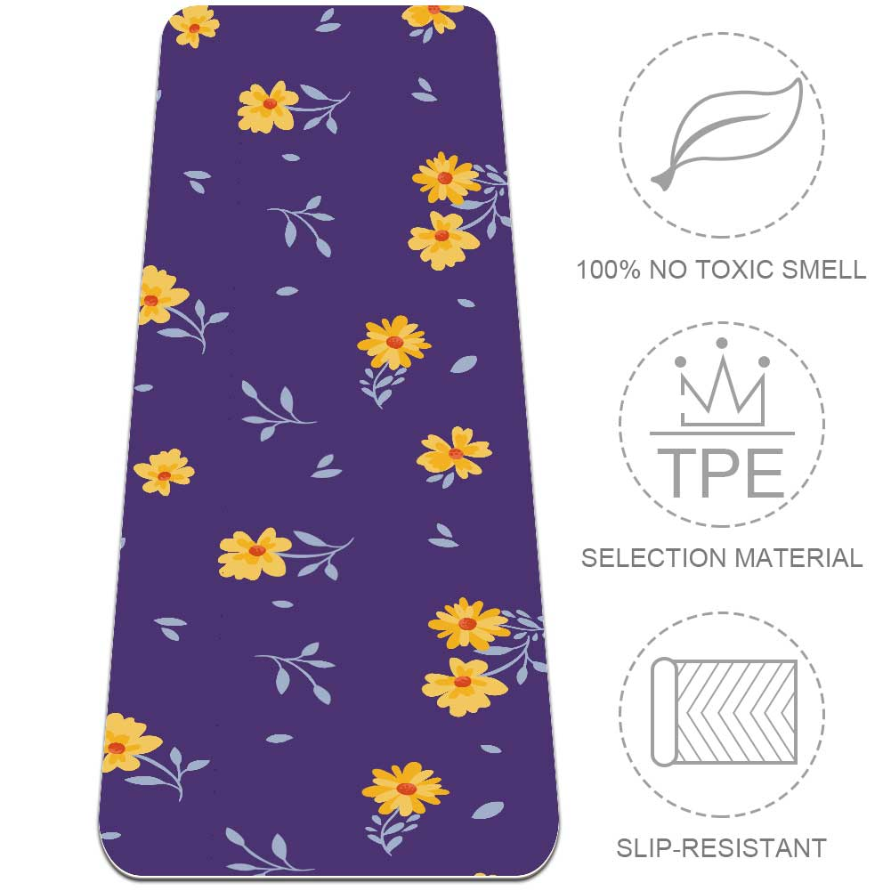 Essential Flowers And Purple Yoga Mat with Strap Workout Non Slip Hot - Lorvies
