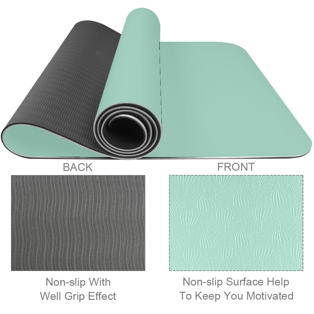 Green Yoga Mat Workout Exercise with Strap - Lorvies