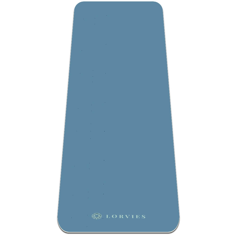 Light Blue Yoga Mat 8mm Fitness Best with Strap Non Slip Eco - Lorvies