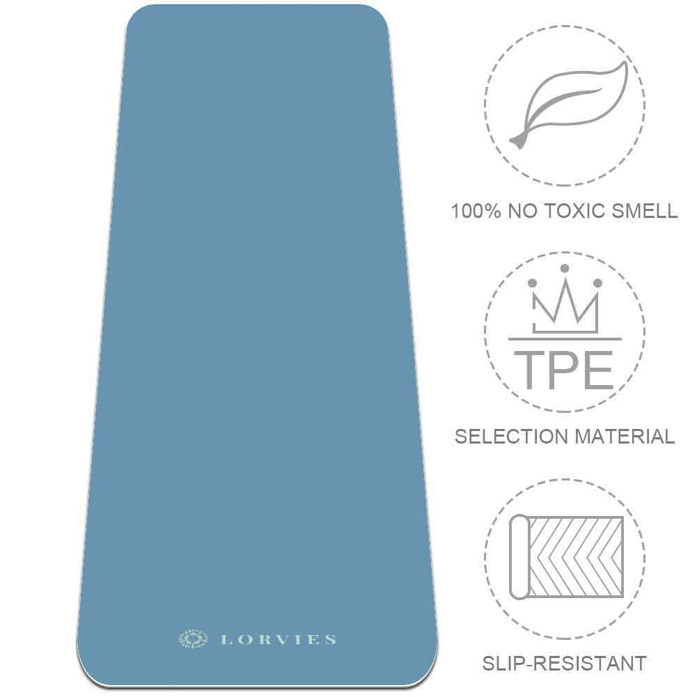 Light Blue Yoga Mat 8mm Fitness Best with Strap Non Slip Eco Friendly - Lorvies
