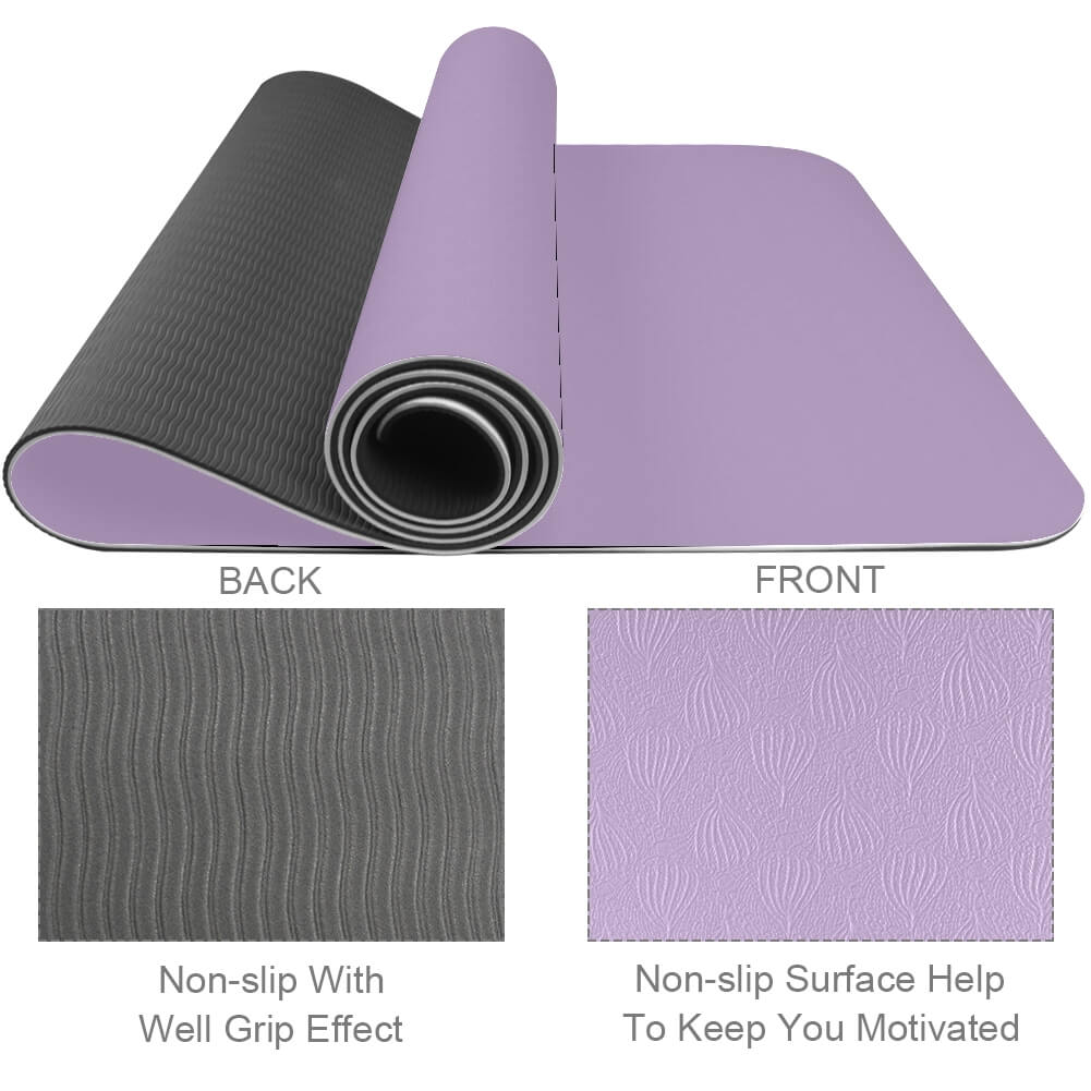 Lilac Yoga Mat Exercise Non Slip Fitness Eco Friendly - Lorvies