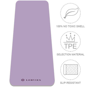 Lilac Yoga Mat Exercise Non Slip Fitness with Strap Eco Friendly - Lorvies