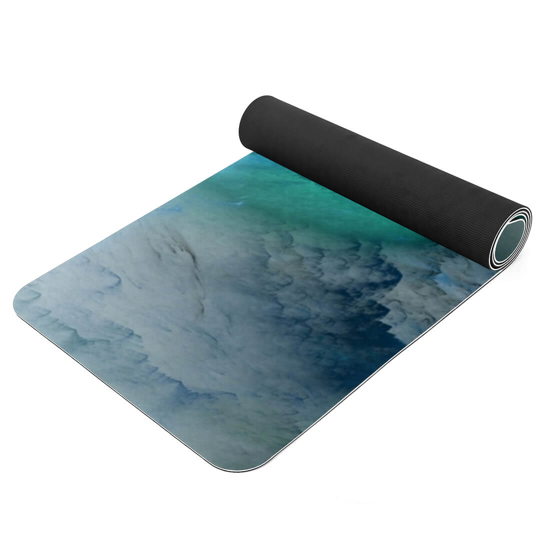 Lorvies Abstract Artistic Blue Cloud Green White Pattern Thick Yoga Mat