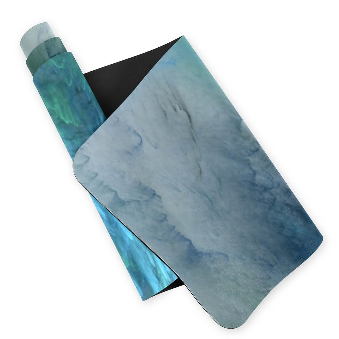 Lorvies Abstract Artistic Blue Cloud Green White Print Yoga Mat