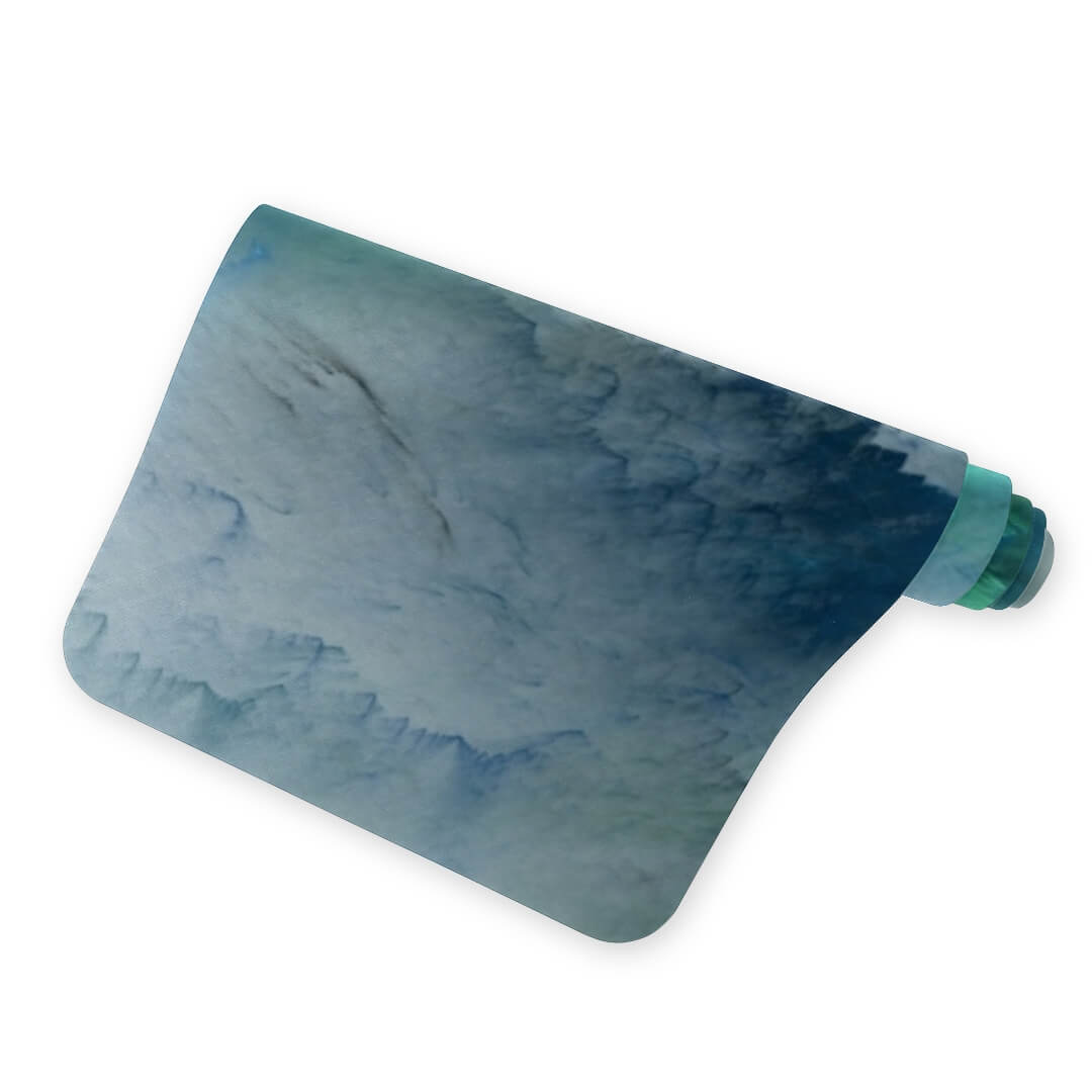Lorvies Abstract Artistic Blue Cloud Green White Yoga Mat Anti Slip