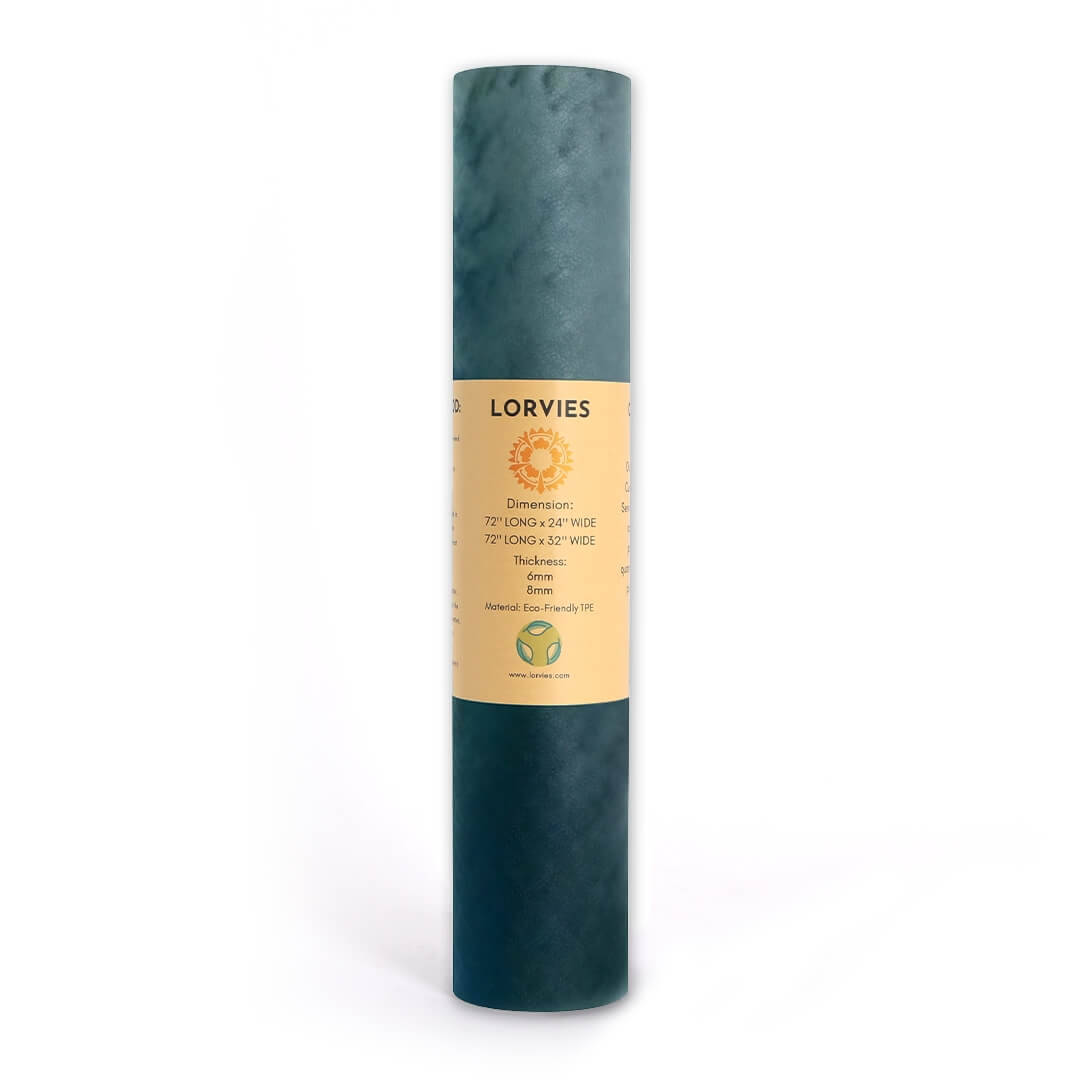 Lorvies Abstract Artistic Blue Cloud Green White Yoga Mat Ecofriendly
