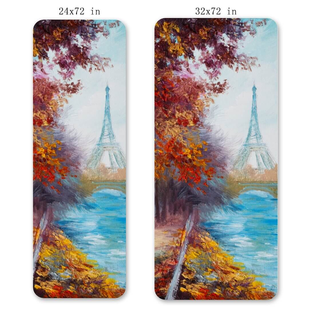 Lorvies Art Paint Paris Eiffel Tower Yoga Mat Workout Fitness