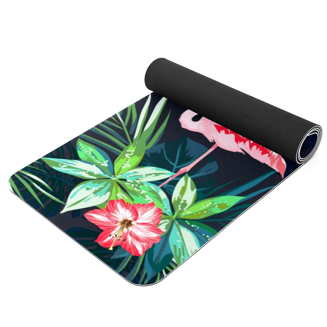 Lorvies Flamingo Flower Patterned Thick Yoga Mat