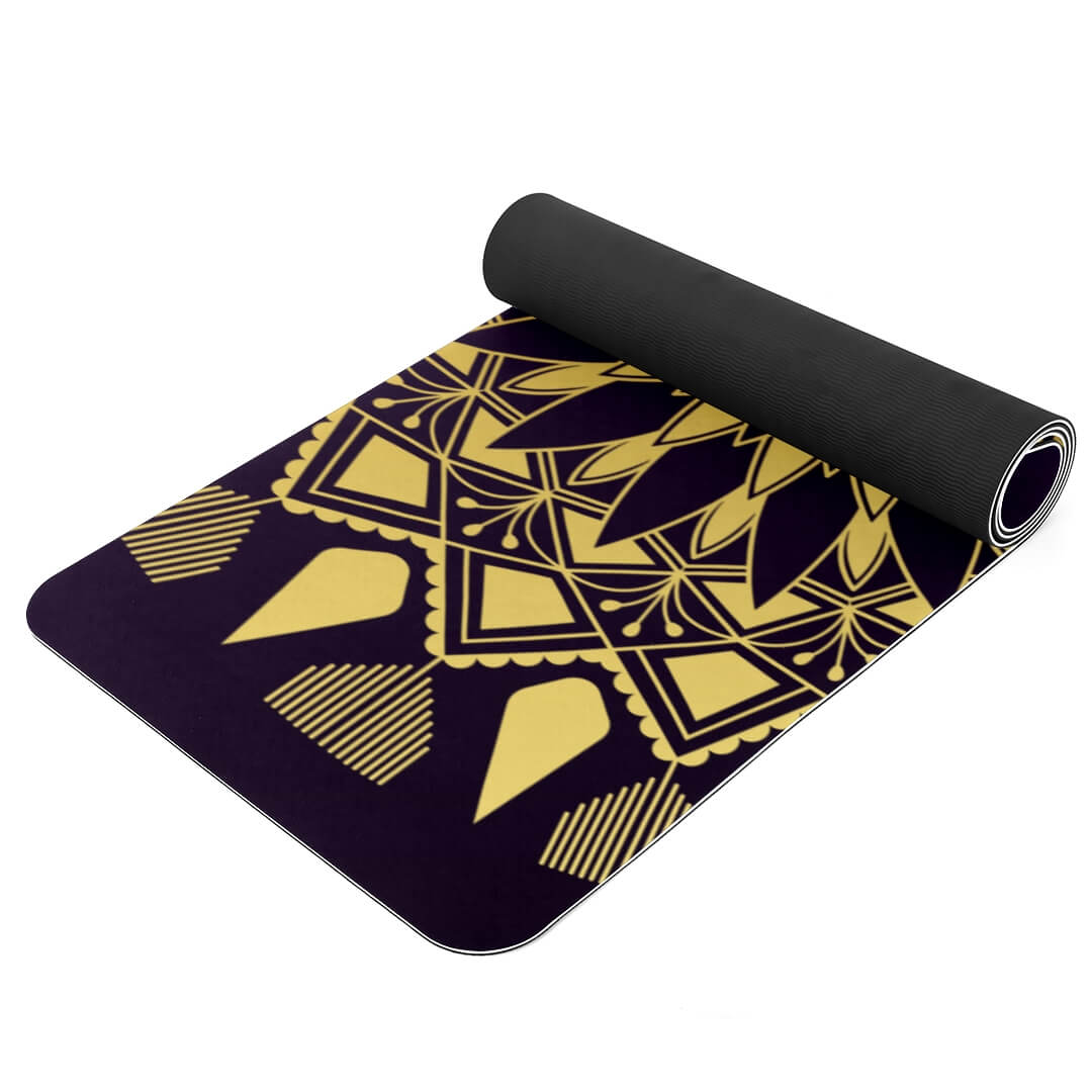 Lorvies Golden Mandala Badge Extra Long Yoga Mat