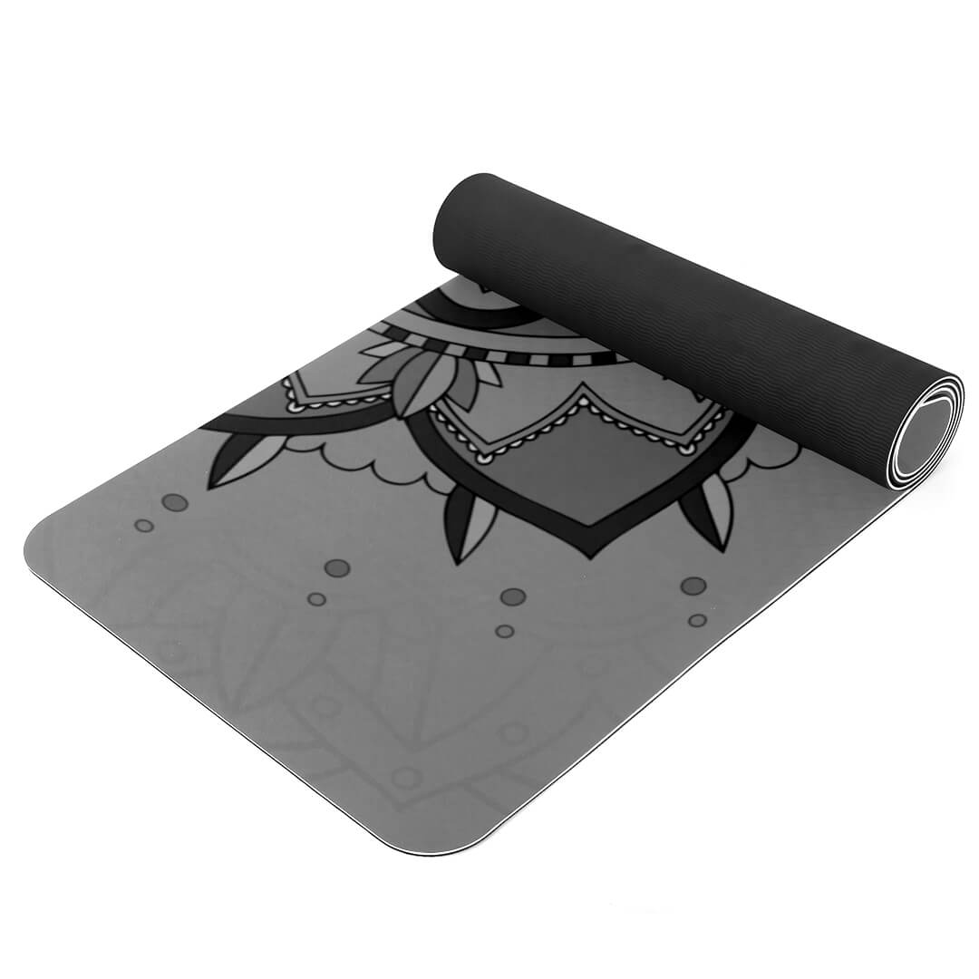 Lorvies Gray Mandala Patterned Yoga Mat Eco Friendly