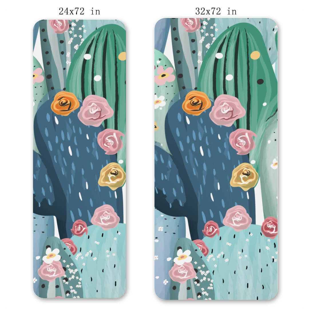 Lorvies Pastel Cactuses Flowers Pattern Thick Yoga Mat