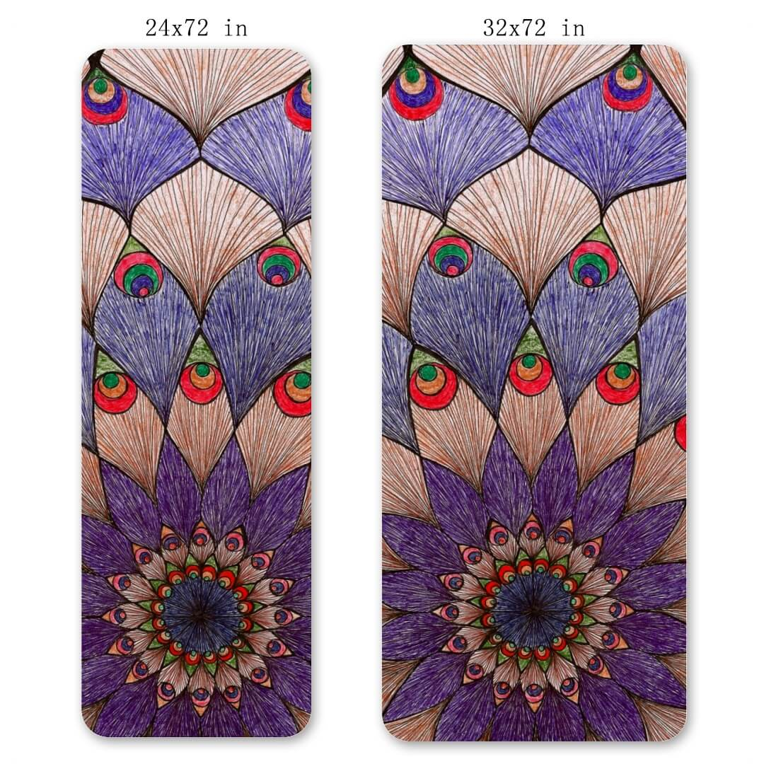 Lorvies Peacock Color Mandala TPE Exercise Yoga Mat