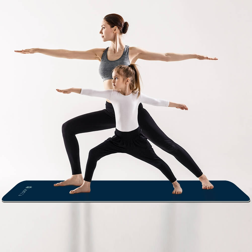 Navy Blue Yoga Mat Pilates Home Gym TPE Best - Lorvies