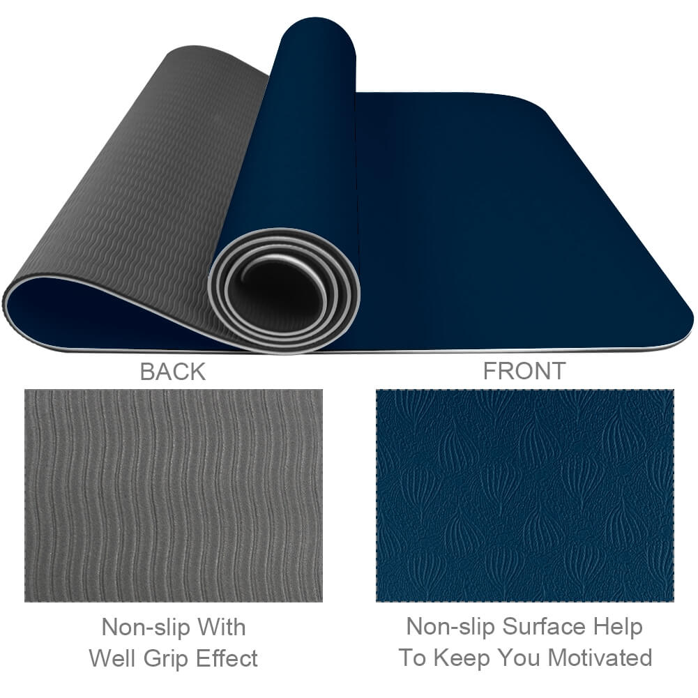 Navy Blue Yoga Mat Pilates Gym - Lorvies