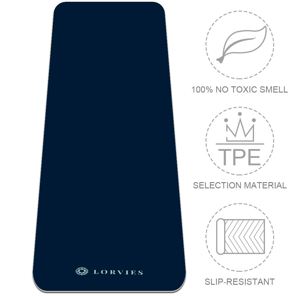 Navy Blue Yoga Mat Pilates Home Gym Flooring Non Slip TPE Best - Lorvies