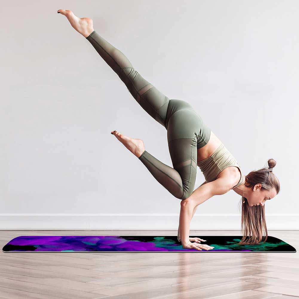 Purple And Teal Smoke Yoga Mat
