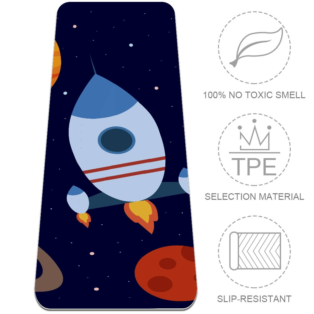 Rocket In Space Yoga Mat