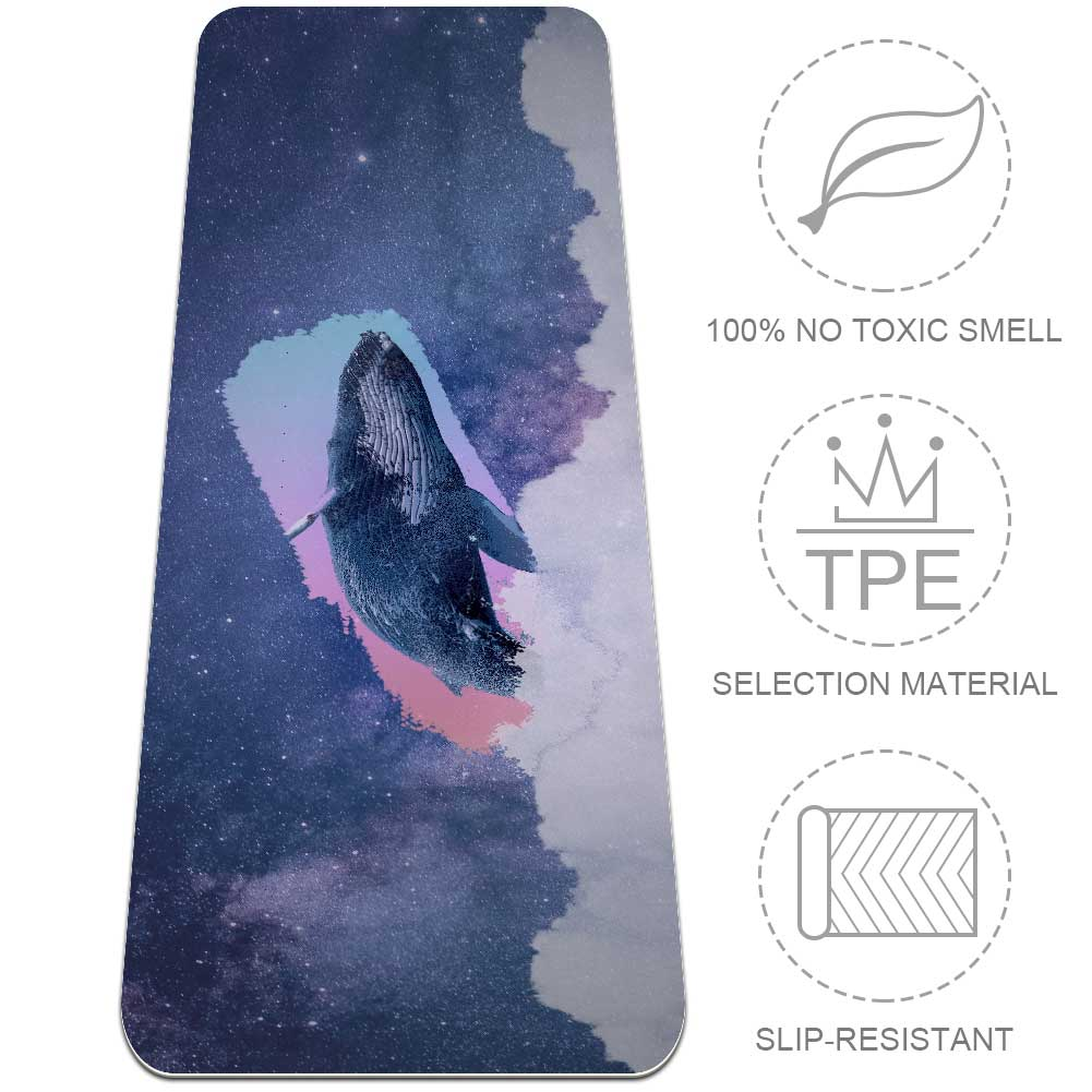 Whale Yoga Mat Eco Friendly Non Slip Workout with Strap Top - Lorvies