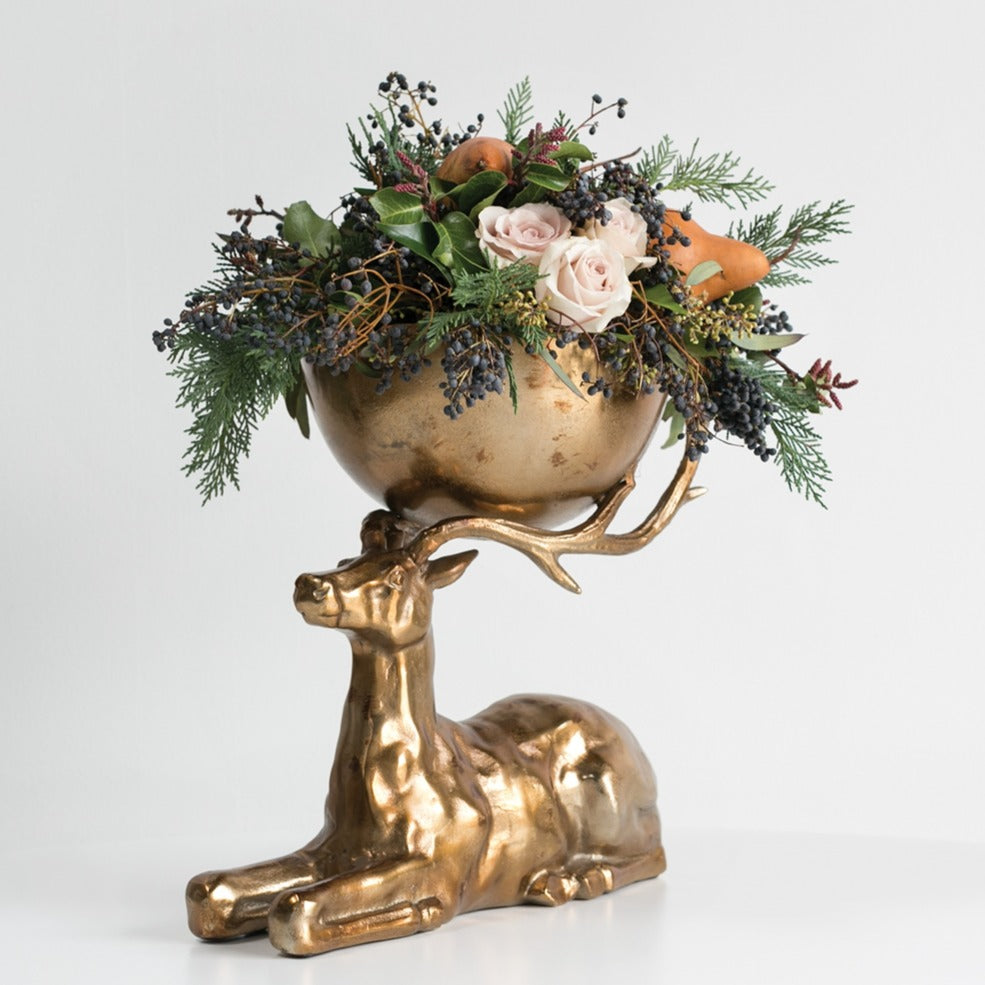 Reindeer Buck Bowl Arrangement