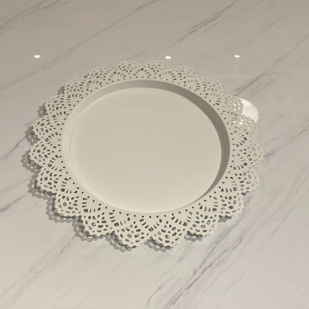 White Lace Charger Plates