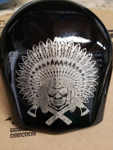 Harley horn cover indian head dress engraving