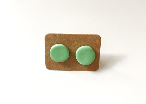 Mint Green Round Stud Earrings - Clay Jewelry - Polymer Clay Earring - Unique Earrings - Boho Earrings - Handmade Earrings - Stud Earrings