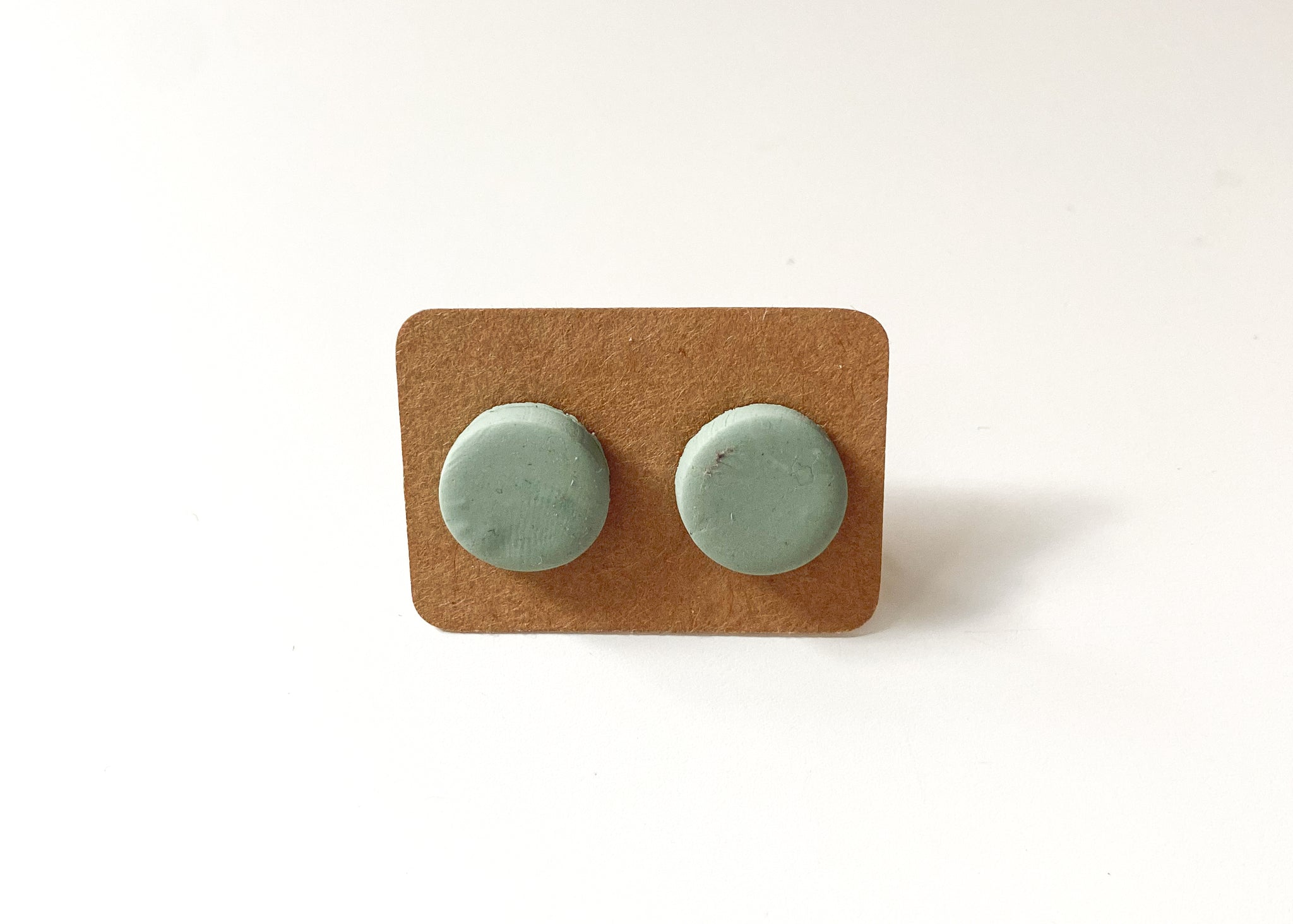 Sage Green Round Stud Earrings - Clay Jewelry - Polymer Clay Earring - Unique Earrings - Boho Earrings - Handmade Earrings - Stud Earrings