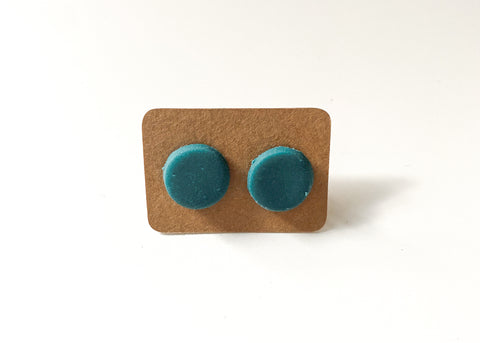Teal Round Stud Earrings - Clay Jewelry - Polymer Clay Earring - Unique Earrings - Boho Earrings - Handmade Earrings - Stud Earrings