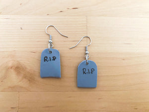 Headstone R.I.P Statement Earrings- Clay Jewelry - Polymer Clay Earring - Unique Earrings - Boho Earrings - Handmade Earrings - Fall Earrings - Halloween Earrings - Dangling Earrings