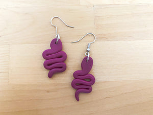 Purple Snake Statement Earrings- Clay Jewelry - Polymer Clay Earring - Unique Earrings - Boho Earrings - Handmade Earrings - Fall Earrings - Halloween Earrings - Dangling Earrings