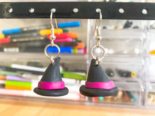 Witches Hat Statement Earrings - Clay Jewelry - Polymer Clay Earring - Unique Earrings - Boho Earrings - Handmade Earrings - Fall Earrings - Halloween Earrings - Dangling Earrings