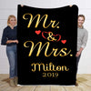 Mr & Mrs  With Name and Wedding Year  Personalized Blanket