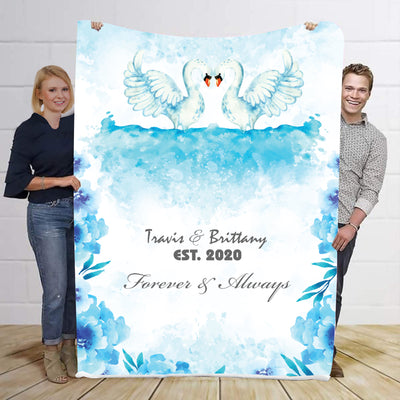 Forever & Always Premium Swan Personalized Blanket