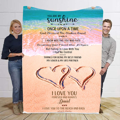 You Are My Sunshine Heart Personalized Blanket