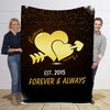 Forever & Always To My Wife Ring Heart Shaped Personalized Blanket