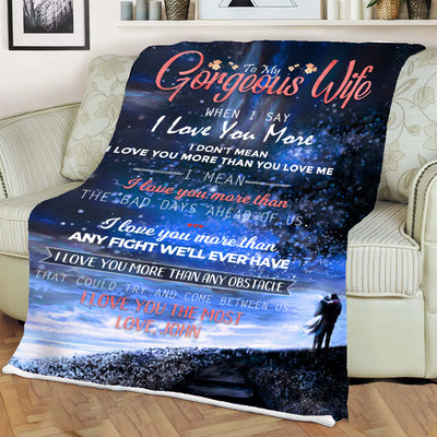 To My Gorgeous Wife I Love You Personalized Blanket