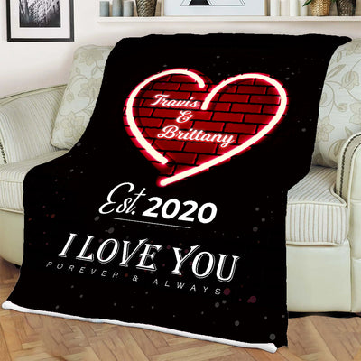 Forever & Always Red Heart Personalized Blanket