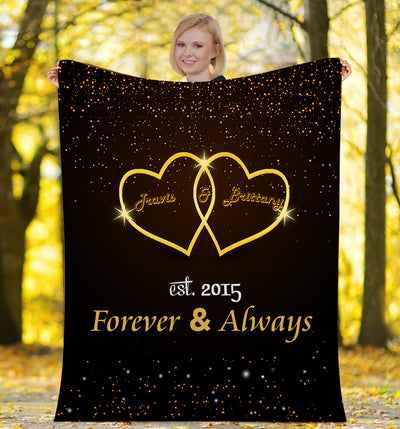 Forever & Always To My Wife Lovely  Personalized Blanket