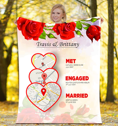 Met Engaged Married Map Love Story  Personalized Blanket