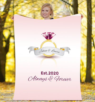 Always & Forever Wedding Ring Personalized Blanket