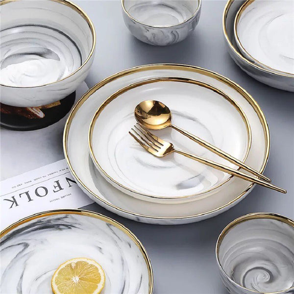 White and Gold Plate and Cutlery Set