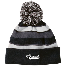 Onward Script Striped Beanie