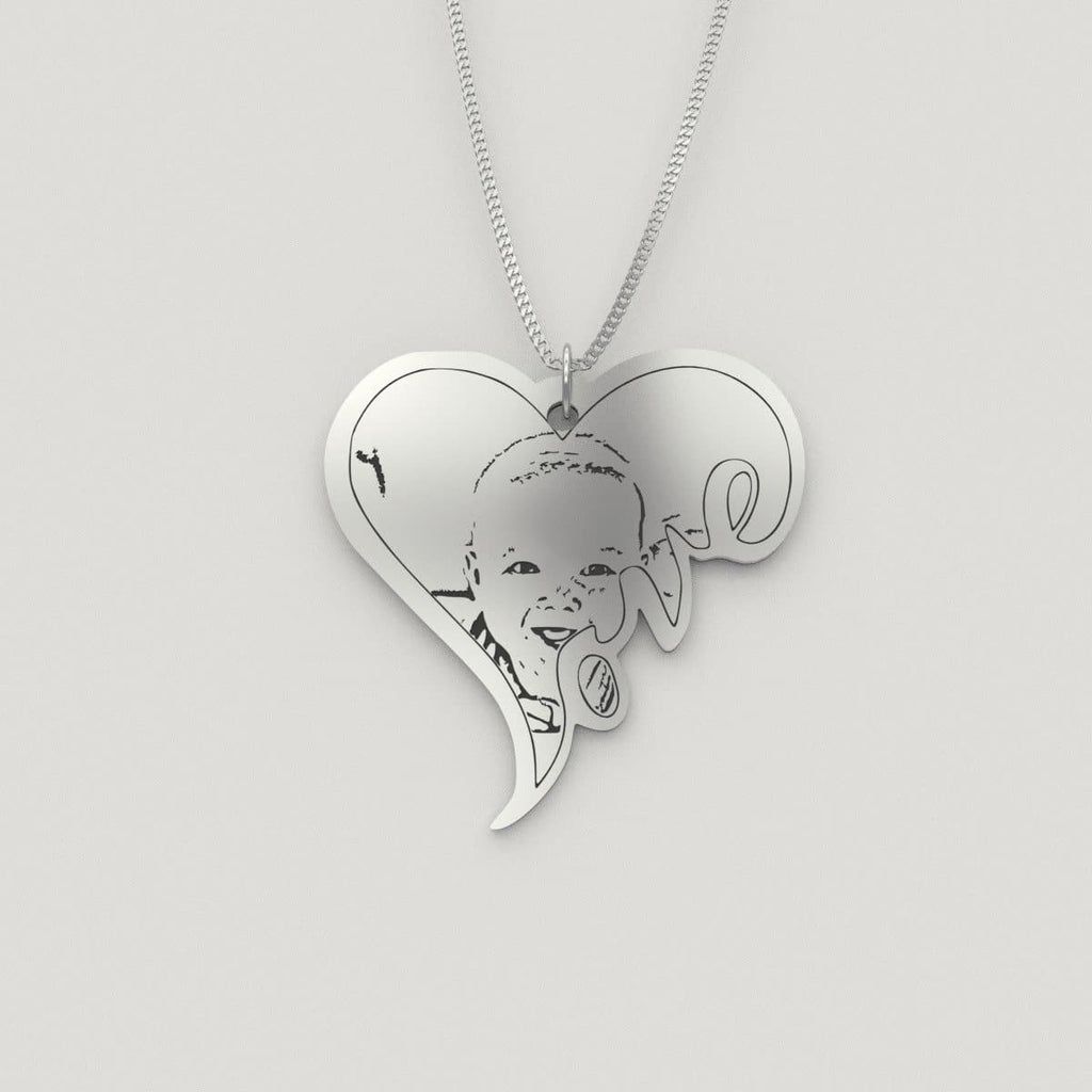 Baby Photo Pendant Heart Shaped