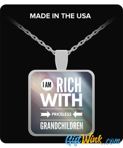 Rich with Priceless Grandchildren - Necklace-Necklace-Gift Wink