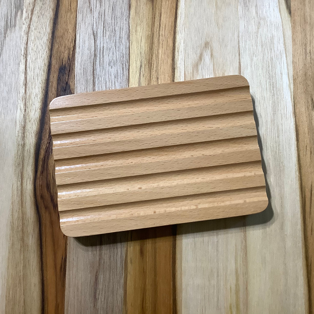 Rectangle Grooved Wooden Soap Dish