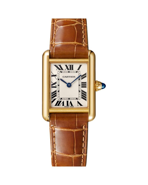 TANK LOUIS CARTIER, SMALL, 18K YELLOW GOLD, LEATHER, SAPPHIRE