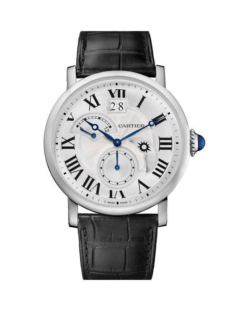 ROTONDE DE CARTIER, LARGE DATE, RETROGRADE SECOND TIME ZONE AND DAY NIGHT INDICATOR, 42MM, STEEL, LEATHER