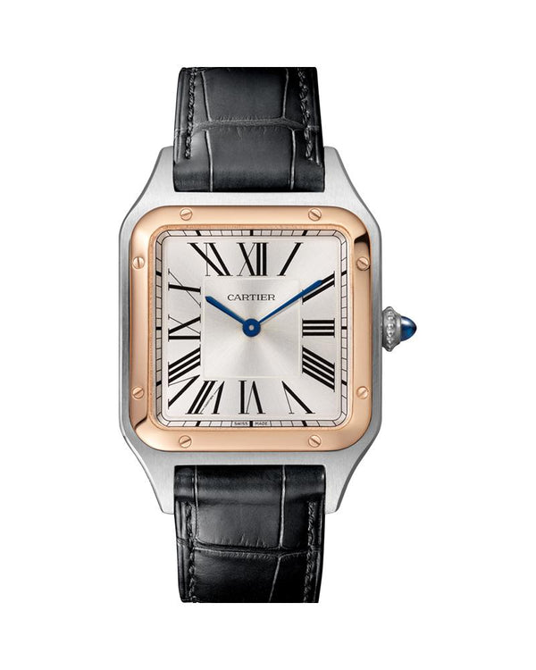 SANTOS DUMONT, LARGE, ROSE GOLD AND STEEL, LEATHER