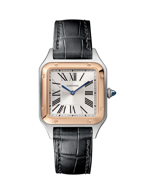 SANTOS DUMONT, SMALL, ROSE GOLD AND STEEL, LEATHER