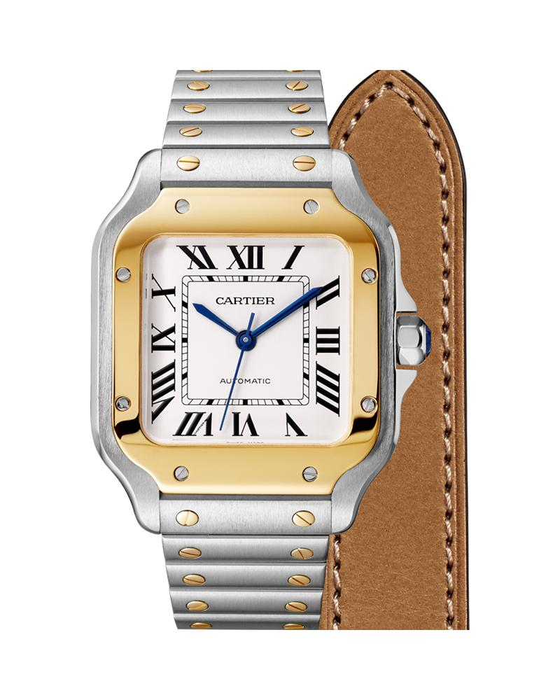 SANTOS DE CARTIER, MEDIUM, AUTOMATIC, YELLOW GOLD AND STEEL, INTERCHANGEABLE METAL AND LEATHER BRACELETS